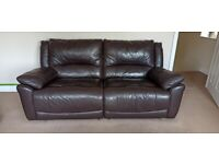 Three seater leather recliner sofa