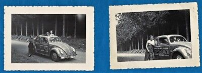 2 vintage foto photo early Volkswagen VW Beetle Kaefer advertising painting 1950 for sale  Shipping to Canada