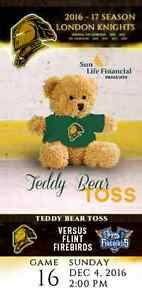 Teddy Bear Toss! London Knights vs Flint, Dec 4th 2016 @ 2PM