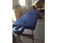 PORTABLE MASSAGE COUCH 'FEEL GOOD' WITH ZIPPED CARRY CASE, BLUE LEATHER WITH BREATHE HOLE