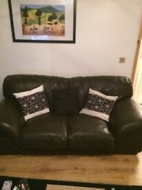 Brown Italian leather 2 seater sofa £100