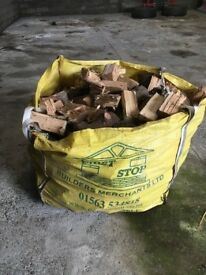 Dried logs in tonne bags