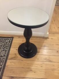 Two lamp tables from Next, round dark wood base with Mirror tops