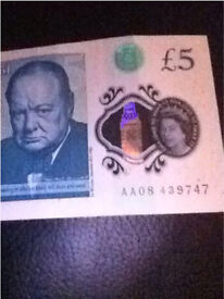 AA08 £5 note NEW