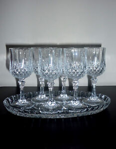 6 Crystal Glasses on Crystal Serving Tray ... NEW ... never used