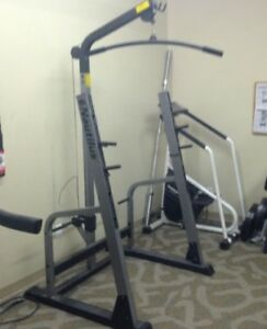 Nautilus Squat Rack, Lat Tower, Bench, Leg Ext, Weights, Bar