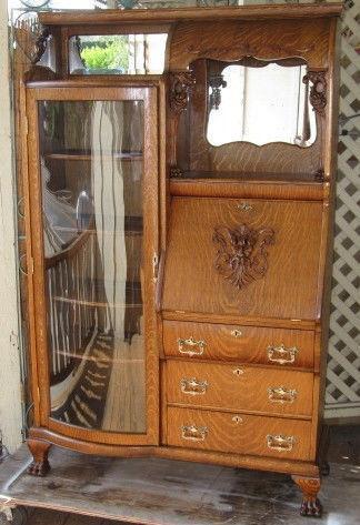 Antique Oak Drop Front Desk