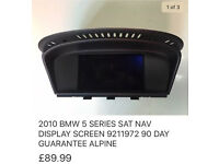 2010 BMW 5 SERIES SAT NAV DISPLAY SCREEN 9211972 90 DAY GUARANTEE ALPHINE