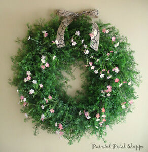 Greenery & Coral Pink Wild Flower Wreath/ Spring Wreath/ Wedding Belleville Belleville Area image 1