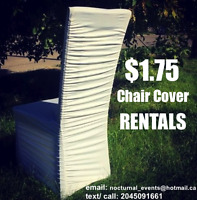 Stretch RUCHED chair covers for RENT