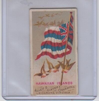 1887 Allen & Ginter Hawaiian Islands Flags of All Nations Good-VG Condition