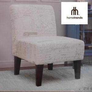 NEW HOMETRENDS ACCENT CHAIR - 109505251 - FRENCH SCRIPT FABRIC ACCENT CHAIR TAUPE - HOME FURNITURE LIVING ROOM