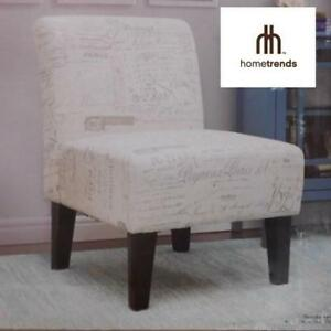 OB HOMETRENDS ACCENT CHAIR CR46487 189814429 FRENCH SCRIPT FABRIC ACCENT CHAIR TAUPE HOME FURNITURE LIVING ROOM