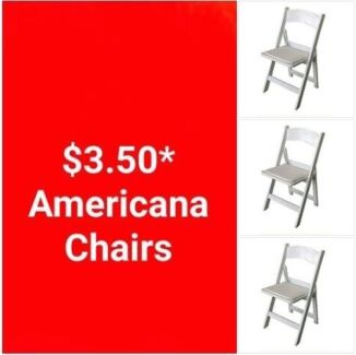 $3.50 AMERICANA CHAIRS FOR HIRE - BOOK NOW!