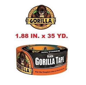 NEW GORILLA TAPE 35 YARD BLACK HOUSEHOLD CRAFTS RENO ADHESIVE 1.88INCH WIDTH 106926741