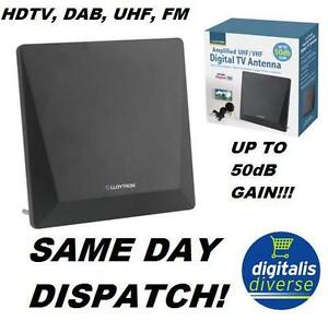 TV Aerial Amplified Indoor HD Digital Antenna Up To 50dB Gain DAB Radio Booster