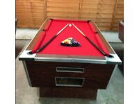 POOL TABLE 7X4 reconditioned pub table,new red cloth, 2 sets of balls 6 cues, triangle chalk holders