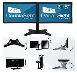 "NEW DOUBLESIGHT DUAL LCD'S W/ MOUNT DS-2200WA-C 150311475 COMPUTER DESKTOP PC DUAL 21"" LCD MONITORS"