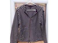 Monsoon Navy Blue and White Breton Stripes Nautical Zipped Hoodie.Size L/UK 20