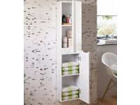 1400mm Tuscany Gloss White Tall Storage Cabinet - Wall Hung
