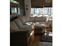 DFS Corner Sofa Chenille Jumbo Cord with Pouffe