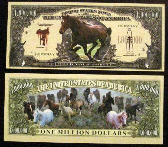 Beautiful Running Horses Novelty Dollar Bill Gift 4 Horse Friend Free Hard Case