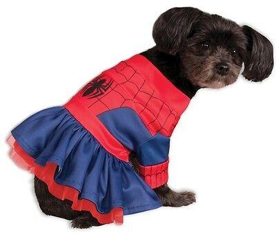 Hund Spiderman Kostüm (Haustier Hund Katze Spiderman Spidergirl Superheld Kostüm Kleid Outfit Kleidung)