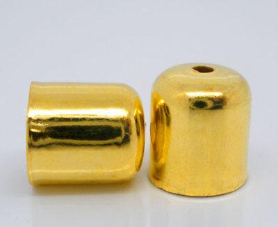 10 Stück Metall Endkappen, 7x8mm, Goldfarben Schmuck Basteln Kappen Gold Deko  - 7 Stück Metall