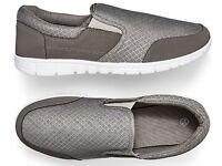 Mens Grey Fabric Slip On Size 7