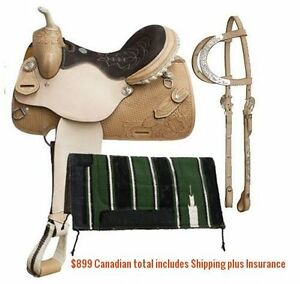 "14"" 15"" 16"" Western Barrel Racing Saddles $747 Leather FULL Bars London Ontario image 5"