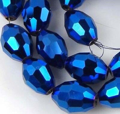 8x6mm Glass Quartz Firepolish Faceted Barrel beads  - Metallic Iris Blue (24)