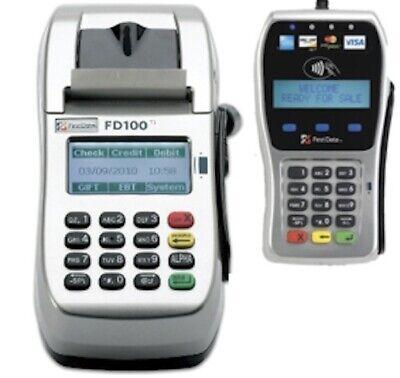 Unlocked First Data Fd100ti Credit Card Machine With Fd35 Emv Nfc Pinpad