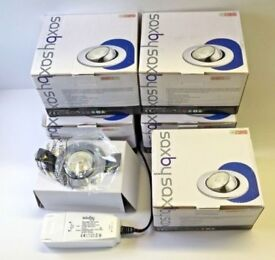 Job Lot of 5 Saxby Fire Rated 10w Led Tilt Eyeball Dimmable Downlights