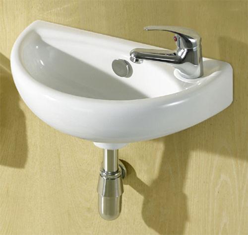 Small Compact Mini Tiny Bathroom Cloakroom Basin Sink Wall Hung 395 RIGHT HAND