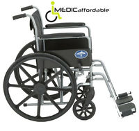 "Brand New Standard Wheelchair w/ Full Arms & Footrests 18"" wide"
