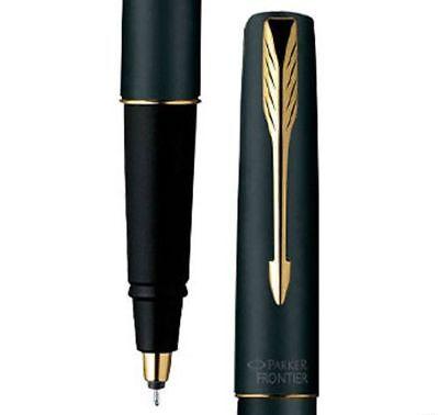 Parker Frontier Matte Black GT Gold Trim Rollerball Roller Ball Pen Blue Ink New Black Gt Roller Ball Pen