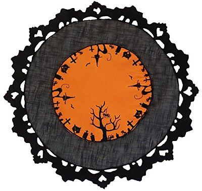 Xia Home Fashions Hallows Eve Embroidered Cutwork 16-Inch Round Halloween Placem
