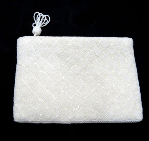 Vintage White Beaded Clutch Evening Bag 6x8 Inch