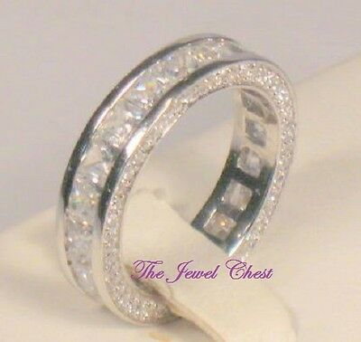 2.50 Ct Princess cut Diamond Eternity Band Wedding Ring White Gold Channel set