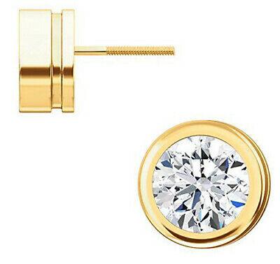 0.90 carat Round cut Diamond Studs 14K Yellow Gold Screw Back Earrings H SI1 GIA 7
