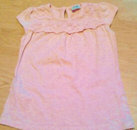 Girl's Pink Marl Lacy Short Sleeve Top.Age 12-18 Months.