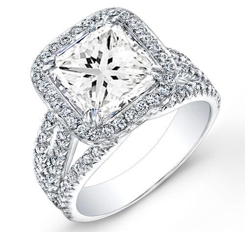 2.50 Ct. Elegant Halo Princess Cut Pave Diamond 14K Engagement Ring GIA H, VS2
