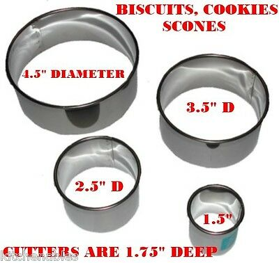 """ATECO - SET OF 4 - STAINLESS STEEL ROUND BISCUIT COOKIE CUTTERS - 1.75"""" DEEP"""