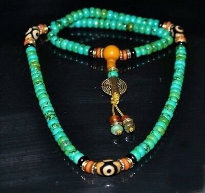 TIBET TIBETAN TURQUOISE BUDDHIST BUDDHA PRAYER BEAD MALA NECKLACE zrf
