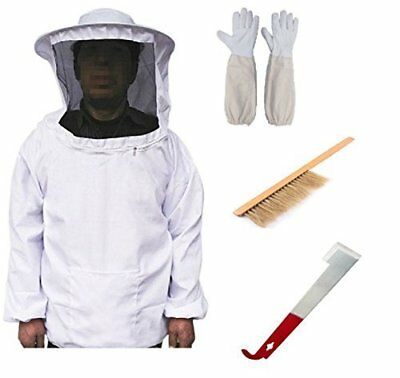Cotton Full Body Beekeeping Bee Keeping Suit With Veil Hood Gloves Professional