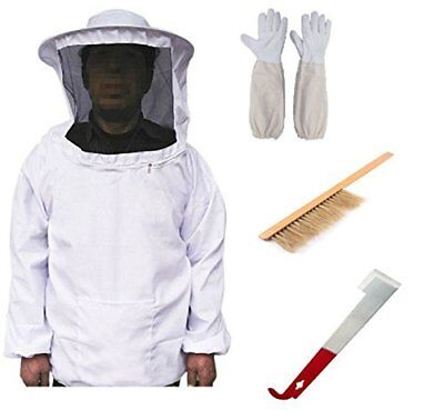 Professional Cotton Full Body Beekeeping Bee Keeping Suit With Veil Hood Gloves