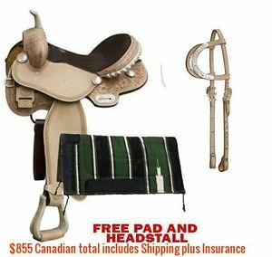 "14"" 15"" 16"" Western Barrel Racing Saddles $747 Leather FULL Bars London Ontario image 2"