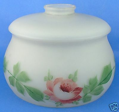 Antique Frosted Glass Painted Rose Victorian Lamp Shade