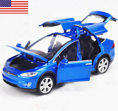 1 32 Scale Diecast Blue X90 Tesla Car Model Toy Gift W  Light   Sound Us Stock