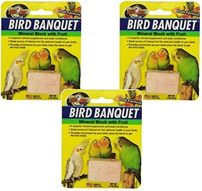Zoo Med Laboratories Bird Banquet Fruit Mineral Blocks Small (3 Pack)